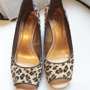Franco Sarto Peep Toe Leopard Wedge